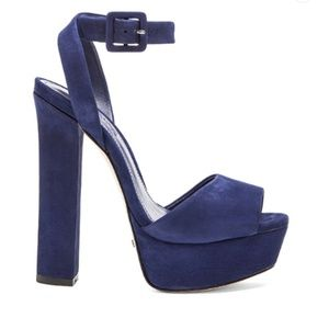 SCHUTZ Amatista Suede Platform Heels in Dress Blue